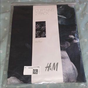 NEW H&M DARK GREY/BLACK FLORA CURTAINS